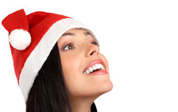 Santa woman. Beautiful young smiling Santa woman . Isolated over white background royalty free stock photo