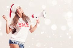 Santa Woman avec le mégaphone Photo stock