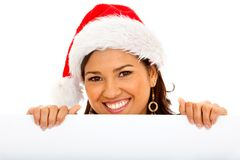 Santa woman with a banner Royalty Free Stock Image