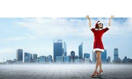 Santa woman with banner Royalty Free Stock Photo
