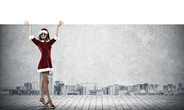 Santa woman with banner Stock Photos