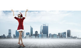 Santa woman with banner Royalty Free Stock Photography