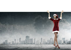 Santa woman with banner Royalty Free Stock Images