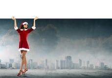 Santa woman with banner Royalty Free Stock Photos