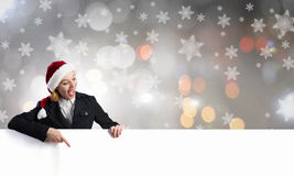 Santa woman with banner Royalty Free Stock Photo