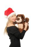 Santa woman with bear isolated on white Stock Photo