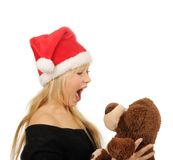 Santa woman with bear isolated on white Stock Images