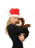 Santa woman with bear isolated on white Stock Image