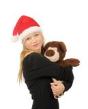 Santa woman with bear isolated on white Royalty Free Stock Photography