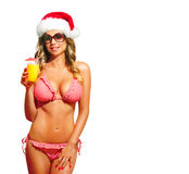 Santa woman with bikini Stock Photo