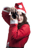 Santa Woman with Camera Royalty Free Stock Image