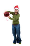 Santa woman celebrating christmas with present bag Royalty Free Stock Photography