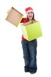 Santa woman celebrating christmas with present box Stock Images