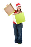 Santa woman celebrating christmas with present box Royalty Free Stock Photo