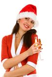 Santa woman with champaign Stock Photo