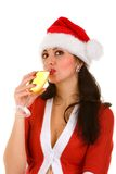 Santa woman with champaign. Santa woman and goblet with champaign Stock Photography