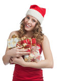 Santa woman with Christmas gifts Royalty Free Stock Photography
