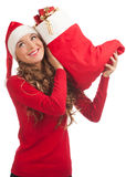 Santa woman with Christmas gifts Stock Images