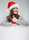 Santa woman christmas portrait show thumb up. Stock Images
