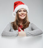 Santa woman christmas portrait show thumb up. Stock Photo