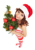 Santa woman with christmas tree Stock Photography