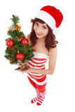 Santa woman with christmas tree Royalty Free Stock Photos