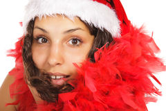 Santa woman close portrait Stock Photo