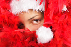 Santa woman close portrait Royalty Free Stock Photography