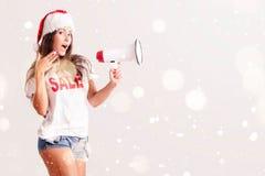 Santa Woman con il megafono Fotografia Stock