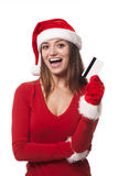 Santa woman with credit card Royalty Free Stock Photos