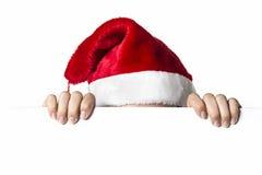 Santa Woman derrière le conseil Photos stock