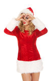 Santa woman doing a heart with her hand Stock Photo