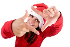 Santa woman doing a photo frame with her hands Royalty Free Stock Image