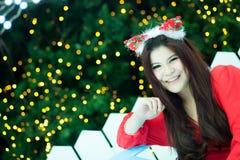 Santa woman dressed Royalty Free Stock Photography