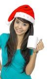 Santa Woman Drinking Stock Images