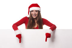 Santa woman with empty board Stock Images