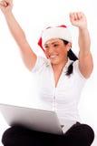 Santa woman enjoing her online shopping Royalty Free Stock Photo