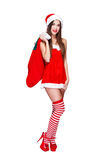 Santa woman in fur hat Royalty Free Stock Photography