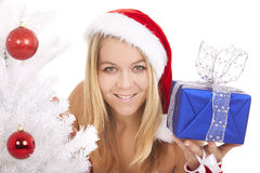 Santa woman gift Royalty Free Stock Image