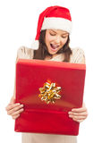 Santa woman with gift box Royalty Free Stock Photography