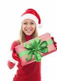 Santa woman with gift Royalty Free Stock Photo