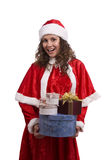Santa woman with gifts. Stock Images