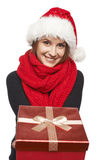Santa woman giving gift box Stock Images