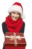 Santa woman giving gift box Stock Images
