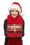 Santa woman giving gift box Royalty Free Stock Photography