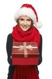 Santa woman giving gift box Royalty Free Stock Photography