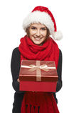 Santa woman giving gift box Royalty Free Stock Photo