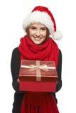 Santa woman giving gift box Royalty Free Stock Photo
