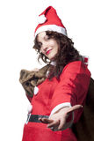 Santa Woman Giving a Hand Stock Photo