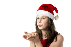 Santa woman with hands at face. Brunette woman wearing a Santa Claus costume holding her hands at her face, isolated on white background Stock Photos
